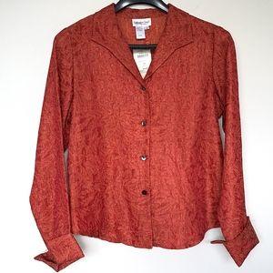 New Coldwater Creek Sparkle Leaf Shirt Jacket Top